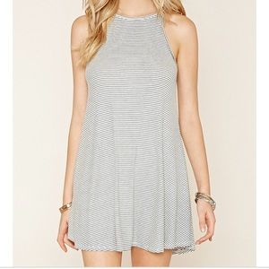 Ribbed Trapeze dress with stripes